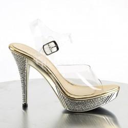 Lujosas sandalias Pleaser de plataforma baja en dorado y strass brillante