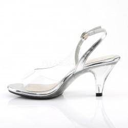 Sandalias transparentes de tacón bajo con correa desde talla 35 a 48