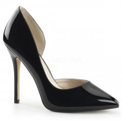 Zapatos clásicos de charol brillante con tacón de aguja y costado abierto