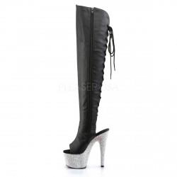 Lujosos botas altas en simil cuero y plataforma cubierta de strass