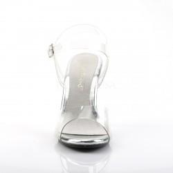 Sandalia de tacon y tiras transparentes