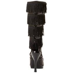 Botas burlesque de cabaret con flecos y lentejuelas