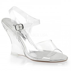 Sandalias transparente con tacón en cuña y correa al tobillo