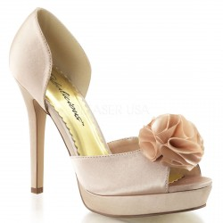 Sandalias de plataforma fabricados en satén con flor sobre los dedos