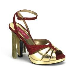 Sandalia bicolor con glitter y flecos en talón