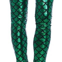 Leggings ajustados de fantasía brillante metalizado con escamas de sirena