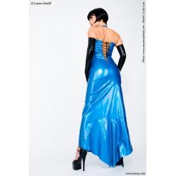 Vestido de noche largo de látex costuras en contraste y lazada posterior