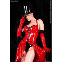 Vestido largo estilo burlesque de látex con costuras en contraste