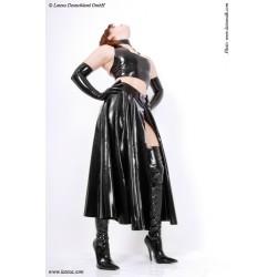 Falda larga de látex con abertura