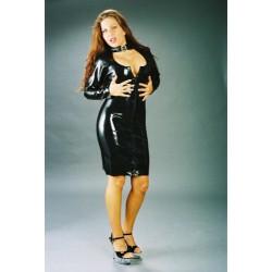 Vestido corto de látex con cuello y cremallera