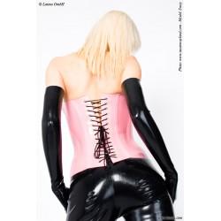 Corsé de látex con lazada posterior y costuras en contraste