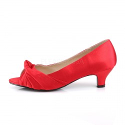 Zapatos Peep Toe de satén con lazo frontal y tacón bajo tallas 40 a 48