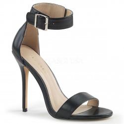 Sandalias cuero sintético con tacón aguja y correa ancha talla 35 a 48