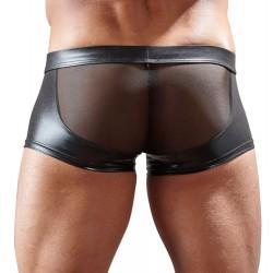 Boxer para hombre en tejido brillante y malla transparente con cremallera