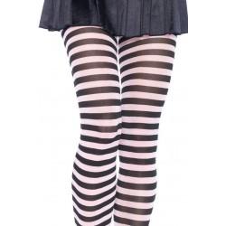 Pantys de nylon talla grande con dibujo de rayas horizontales disponibles en 4 colores