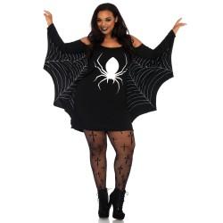 Vestido corto de Halloween XXXL con dibujo de araña y mangas acampanadas