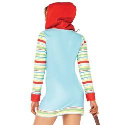 Leg Avenue disfraz de muñeca asesina con capucha y cremallera frontal