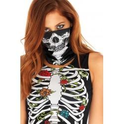 Vestido corto de Halloween con dibujo de esqueleto, ligueros y bandana