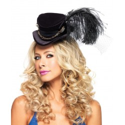Sombrero de copa de terciopelo con plumas y cadenas