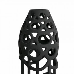 Funda para pene en silicona flexible con patrón reticular y vibrador
