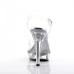 Sandalia de plataforma transparente con correa al tobillo