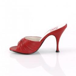 Zuecos colección Pin Up Couture de polipiel y detalle fruncido al frente