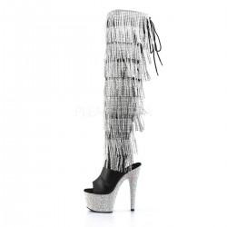 Lujosos botas altas simil cuero plataforma de strass y 8 capas de flecos
