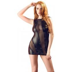 Mini vestido de tejido brillante combinado con transparencias y argollas