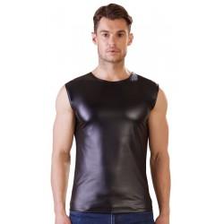 Camiseta masculina de manga corta y tejido brillante de efecto cuero