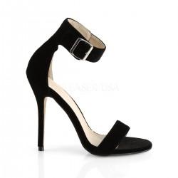 Sandalias de terciopelo con tacón aguja y correa ancha en talla 35 a 48