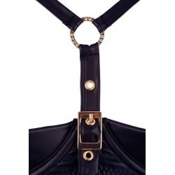 ¡Diseño elegante con detalles dorados!.. Conjunto 3 piezas con liguero