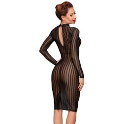 Vestido sexy ajustado de mangas largas en tejido semitransparente
