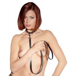 Collar bondage ZADO en cuero ajustable con correa y tachuelas