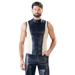 Exótica camiseta masculina ceñida con cremallera en la parte frontal