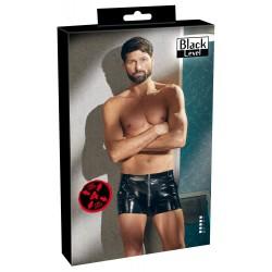 Pantalones cortos de hombre con cremallera frontal en vinilo brillante
