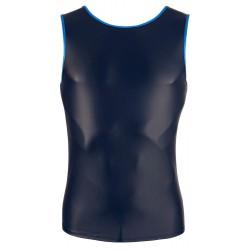 Camiseta masculina elástica efecto mate con ribete azul