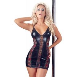 ¡Una joya erótica! Vestido corto ceñido en tejido brillante y encajes
